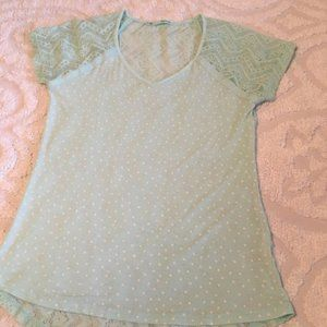 Maurices Mint Green w/Polka Dots Lace Back Tee